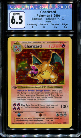 Charizard - 4/102 - 1st Edition - CGC 6.5 - Base Set - Holo - 21001