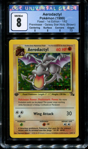 Aerodactyl - 1/62 - CGC 8 - 1st Edition - Prerelease - Fossil - Holo - 42199