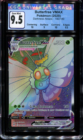 Butterfree Vmax - 190/189 - CGC 9.5 Gem Mint - Darkness Ablaze - 68057