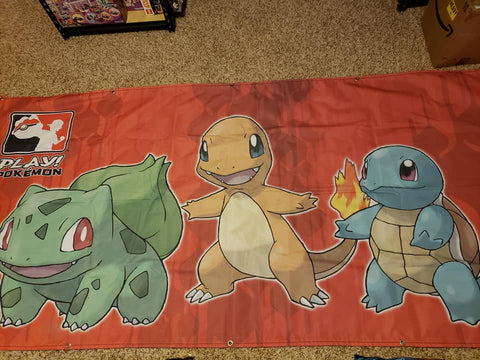 "Charmander - Bulbasaur - Squirtle - Red Cloth Banner - 36""x118.5"""