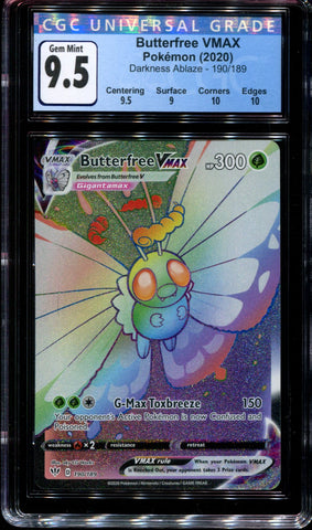 Butterfree Vmax - 190/189 - CGC 9.5 Gem Mint - Darkness Ablaze - 68054
