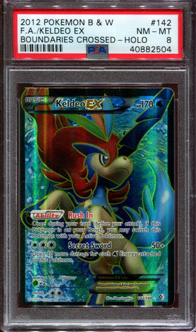 Keldeo EX - Full Art - Boundaries Crossed - 142/149 - PSA 8