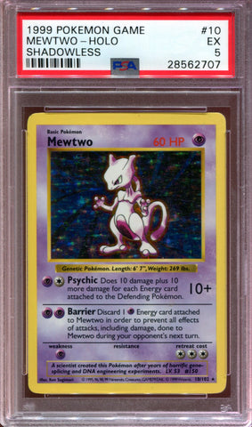 Mewtwo - Shadowless - Base Set - 10/102 - PSA 5