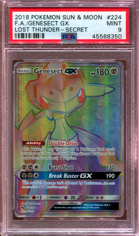 Genesect GX - Hyper Rare - Lost Thunder - 224/214 - PSA 9