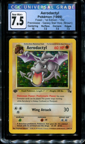 Aerodactyl - 1/62 - CGC 7.5 - 1st Edition - Prerelease - Fossil - Holo - 42203