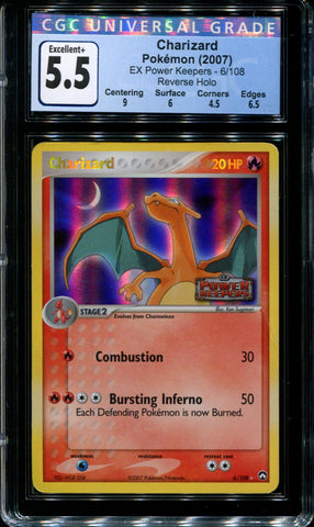 Charizard - 6/108 - CGC 5.5 - Reverse Holo - Power Keepers - 36760