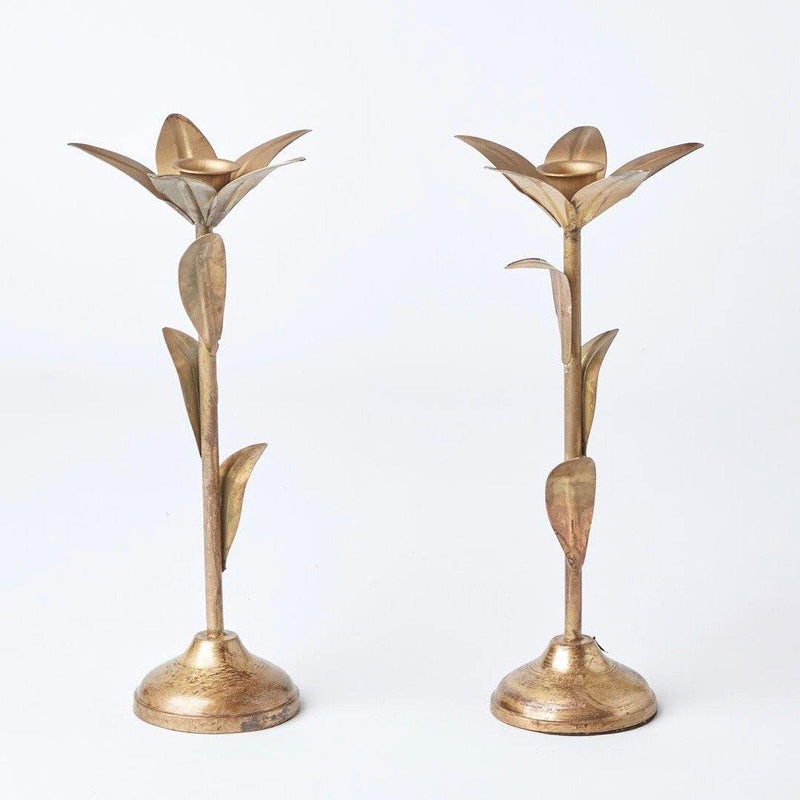 Gold Leaf Tall Candlestick (Pair)