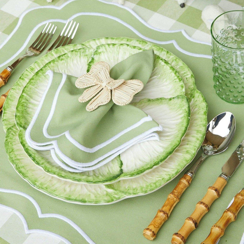Sylvie Green Embroidered Placemats & Napkins (Set of 4)