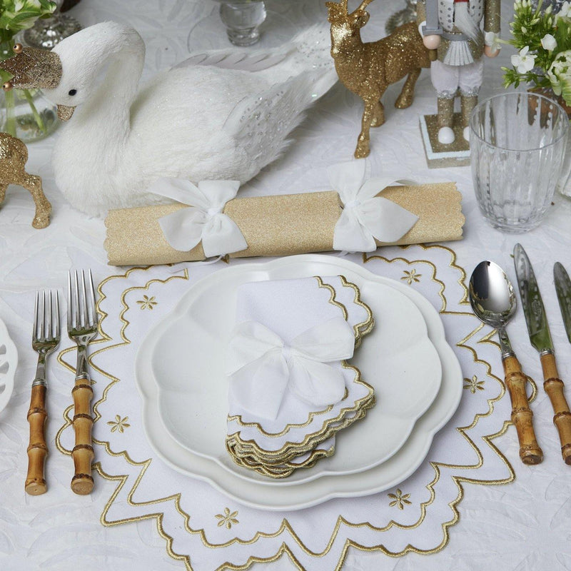 Gold Snowflake Embroidered Placemats & Napkins (Set of 4)