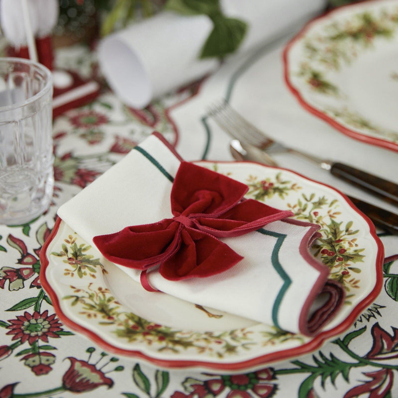 Candy Cane Embroidered Napkins (Set of 4)