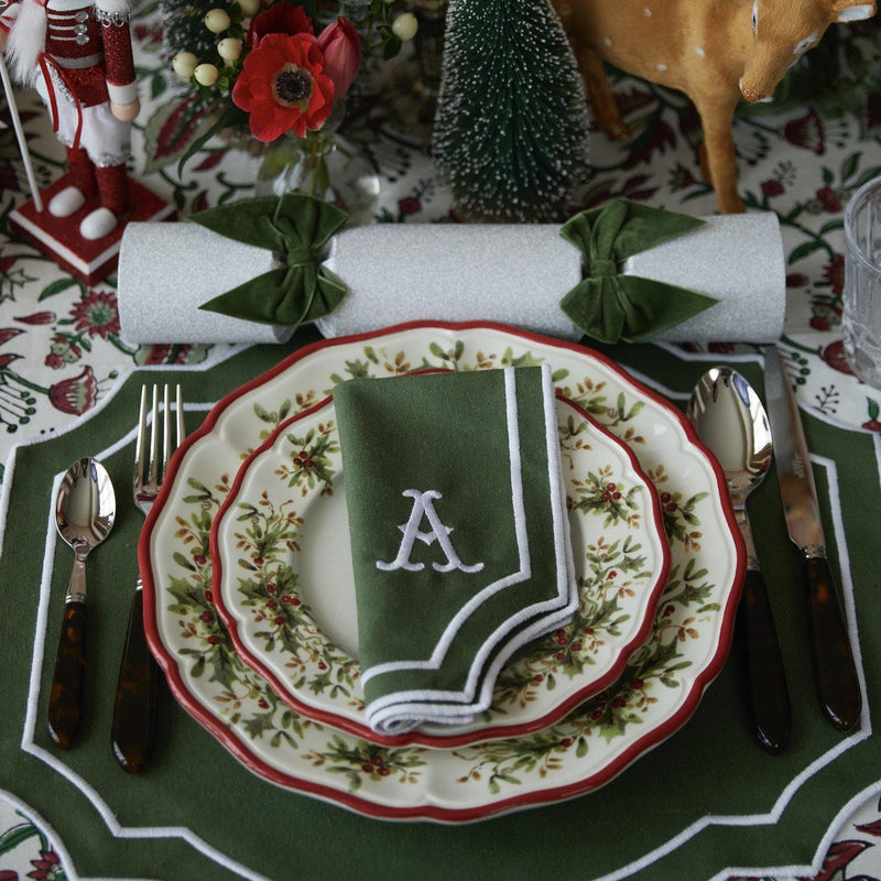 Forest Green Embroidered Placemats & Napkins (Set of 4)