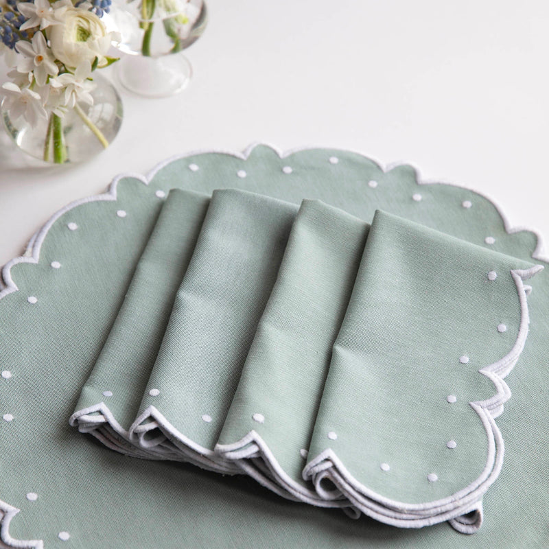 Duck Egg Blue Embroidered Napkins (Set of 4)