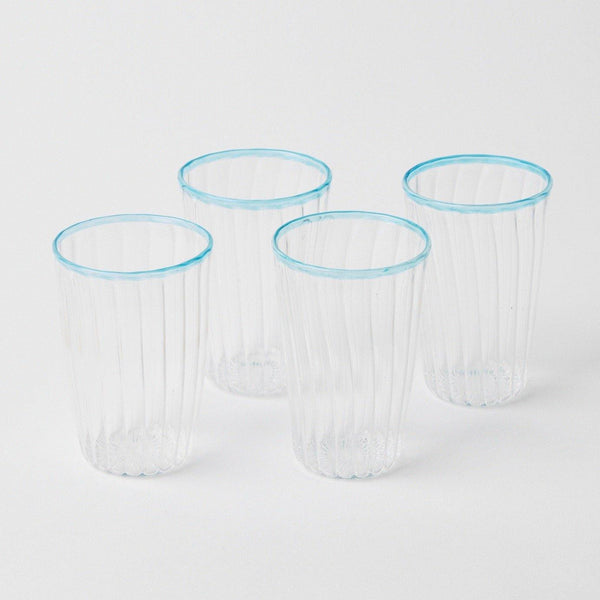 Blue Rim Water Glasses (Set of 4)