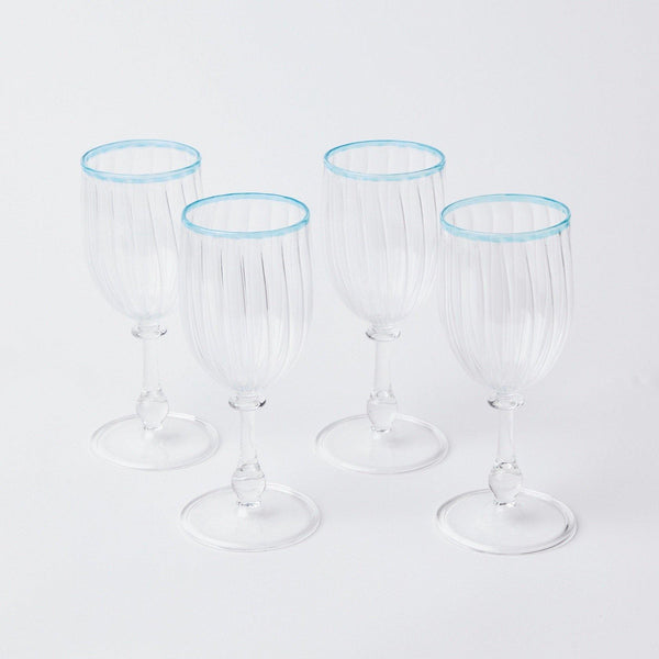 Blue Rim Wine Glasses (Set of 4)