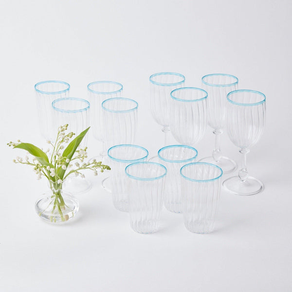 Blue Rim Glassware (Set of 12)