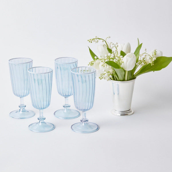 Blue & White Rim Short Stem Glass (Set of 4)