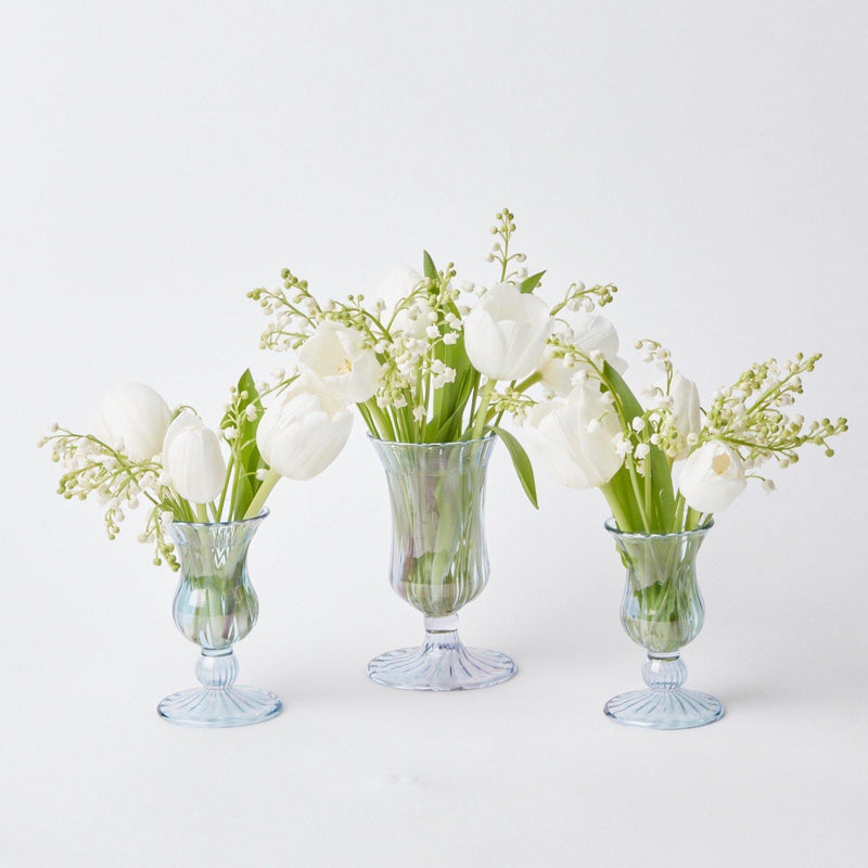 Blue Fluted Vases (Pair)