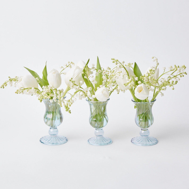 Small Blue Fluted Vase (Set of 3)