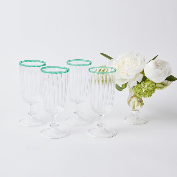 Green Rim Short Stem Glasses (Set of 4)