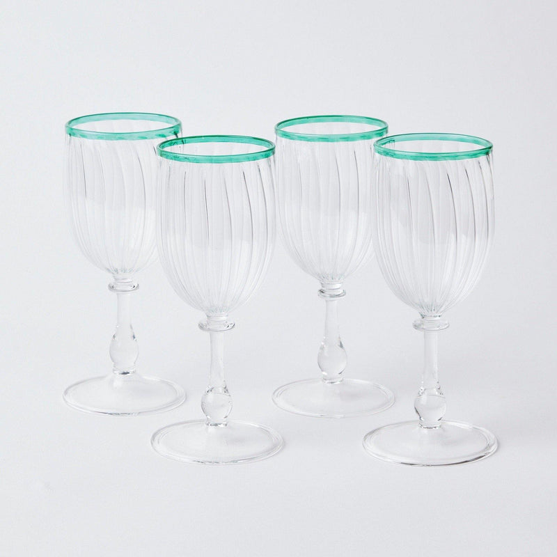 Green Rim Wine Glasses (Set of 4)