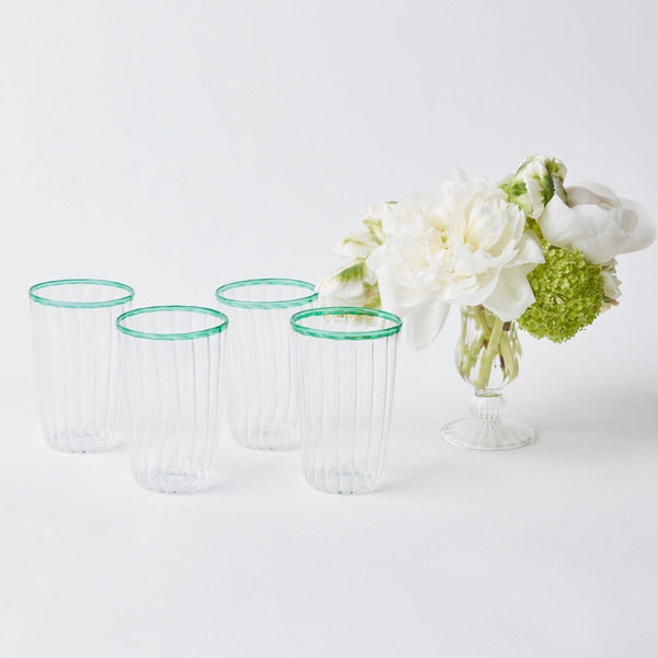 Green Rim Water Glasses (Set of 4)