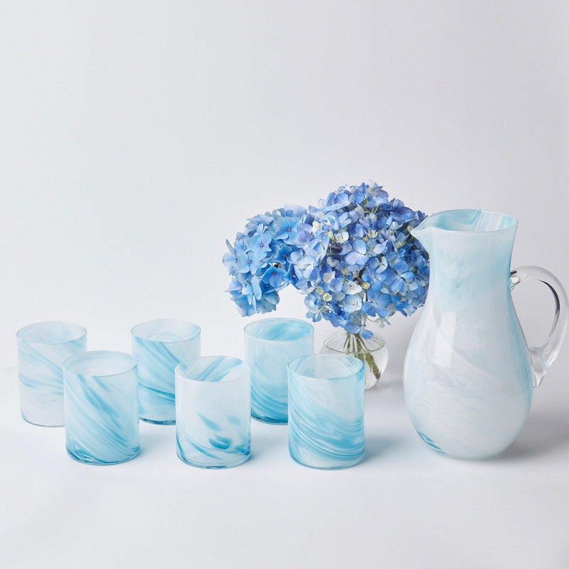 Murano Sky Blue Glasses & Jug (Set of 6)