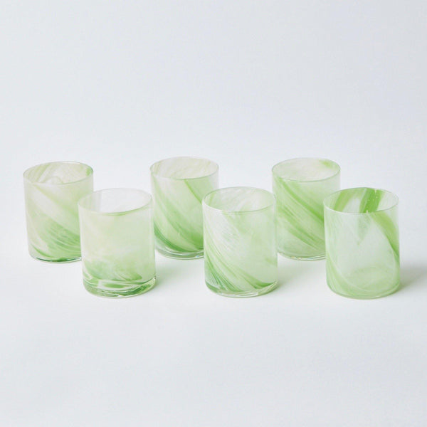 Murano Apple Green Glasses (Set of 6)