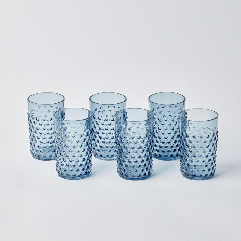 Hobnail Navy Glasses (Set of 6)