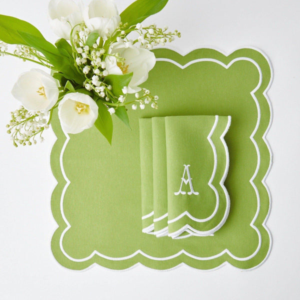 Serena Appliqué Green Napkins (Set of 4)