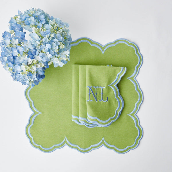Serena Apple Green With Blue Napkins (Set of 4)