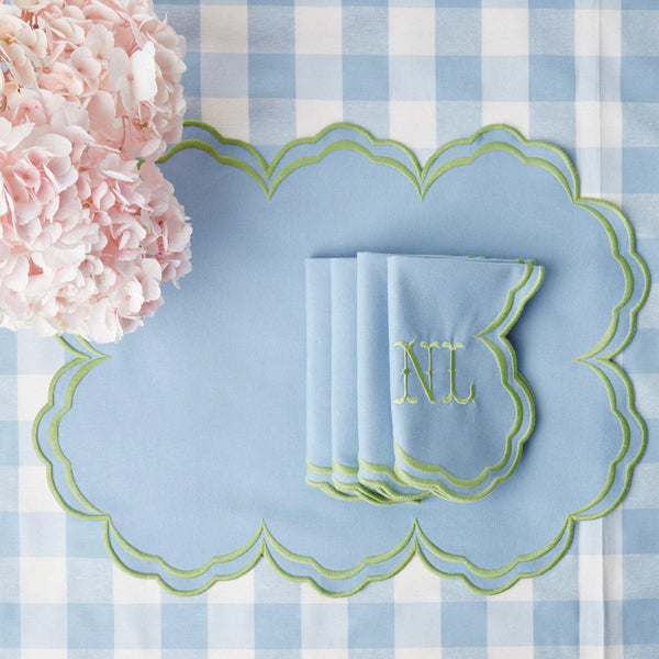 Serena Cornflower Blue With Green Placemats (Set of 4)