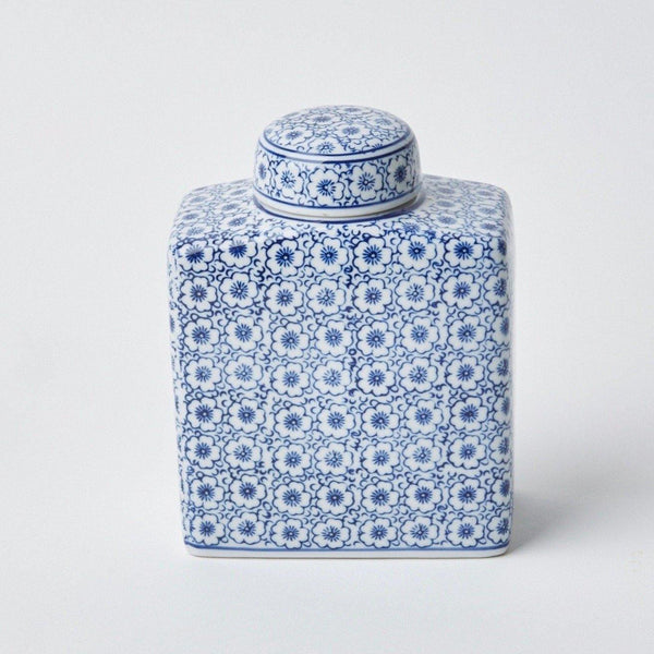 Square Floral Print Ginger Jar