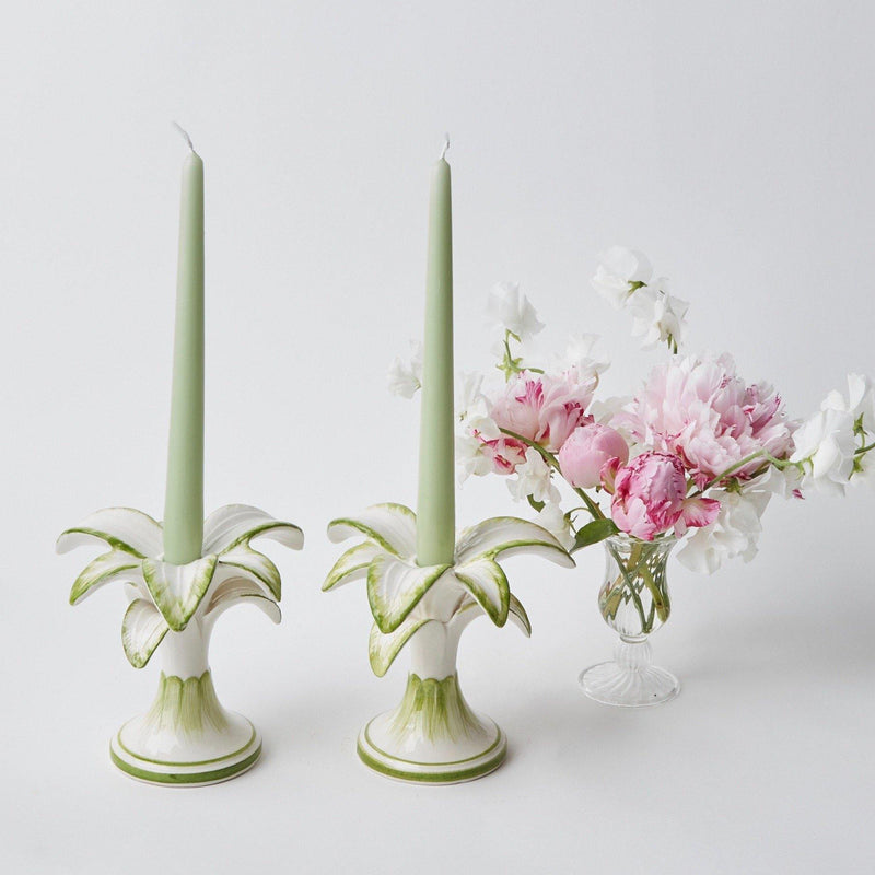 Small White Palm Candle Holder