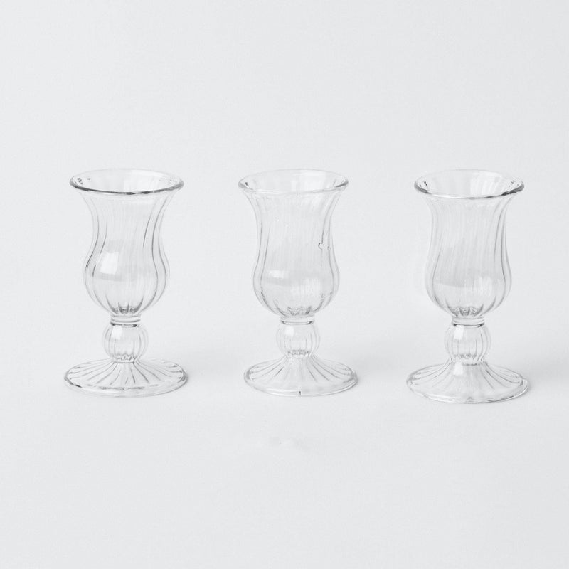 Small Clear Fluted Vases (Set of 3)