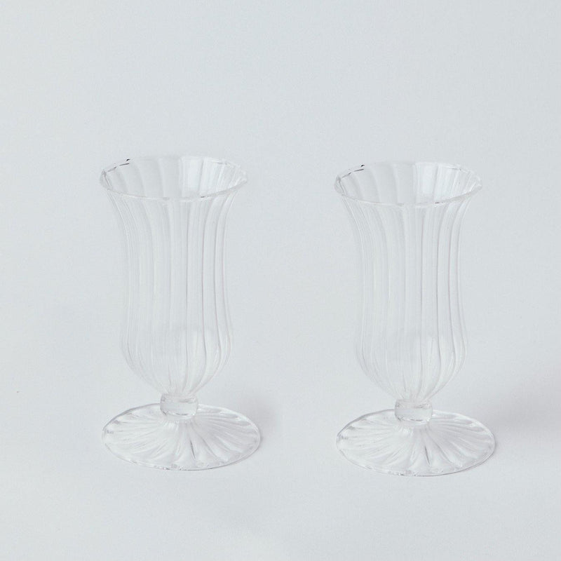 Clear Fluted Vases (Pair)