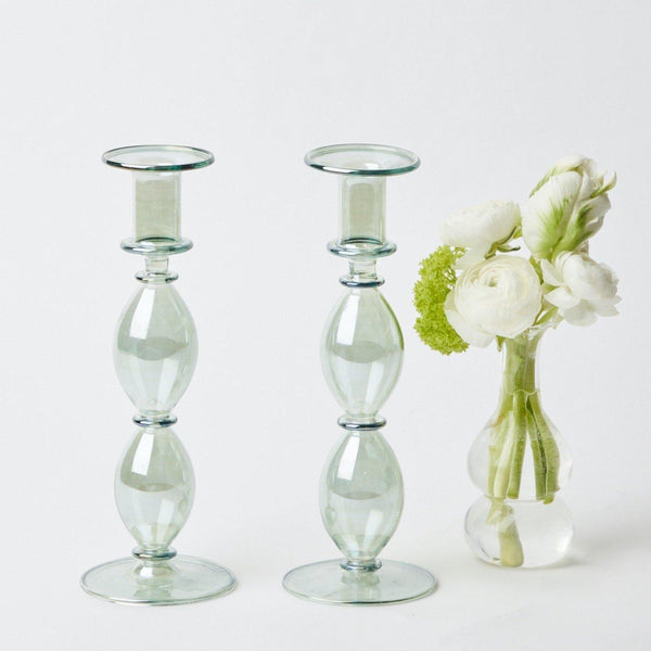 Colette Green Candle Holders (Pair)