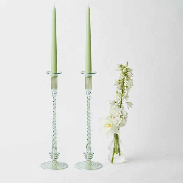 Josephine Green Candles Holders (Pair)