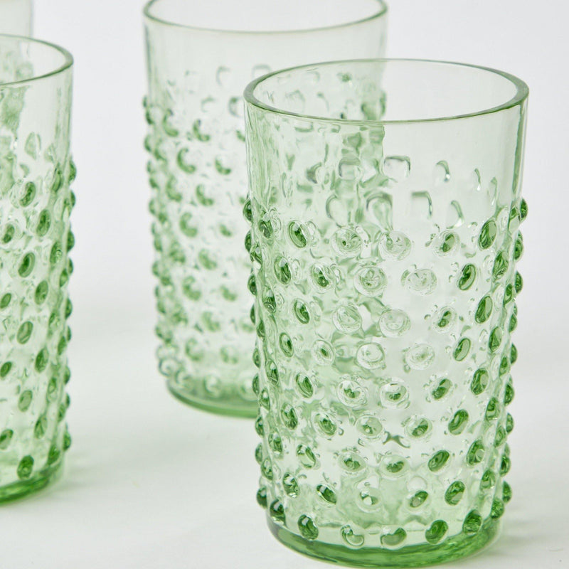 Emerald Hobnail Glasses (Set of 6)