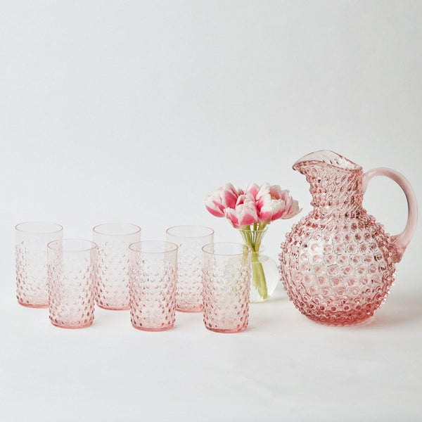Rose Pink Hobnail Water Glasses & Jug Set