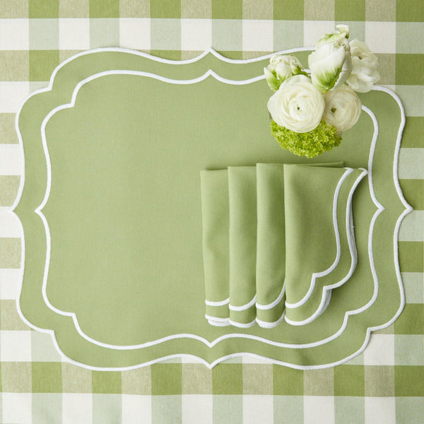 Sylvie Green Embroidered Placemats (Set of 4)