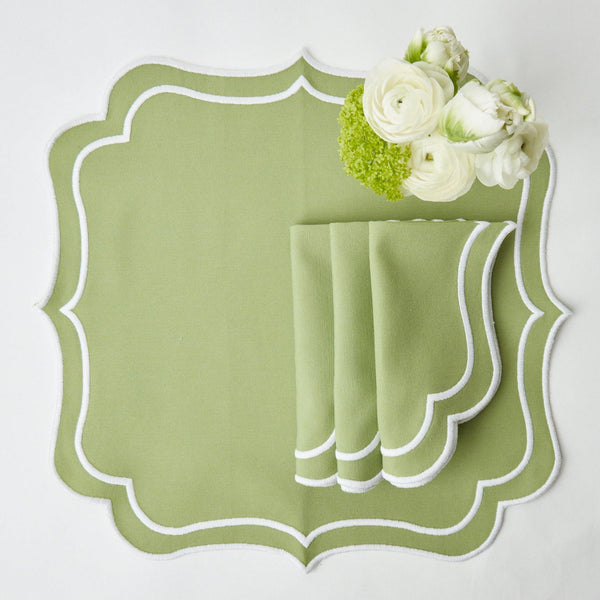 Sylvie Green Embroidered Napkins (Set of 4)