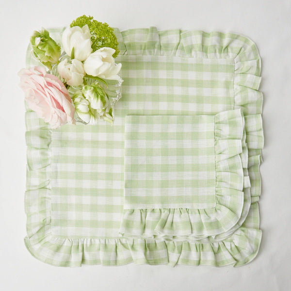 Pistachio Gingham Ruffle Linen Napkins (Set of 4)