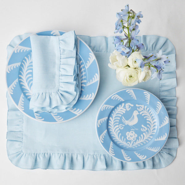 Sky Blue Ruffle Linen Placemats & Napkins (Set of 4)