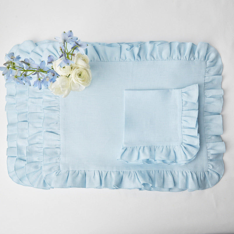 Sky Blue Ruffle Linen Placemats (Set of 4)