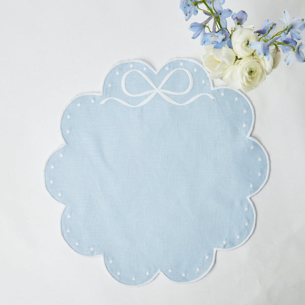 Celeste Blue Bow Placemats (Set of 4)