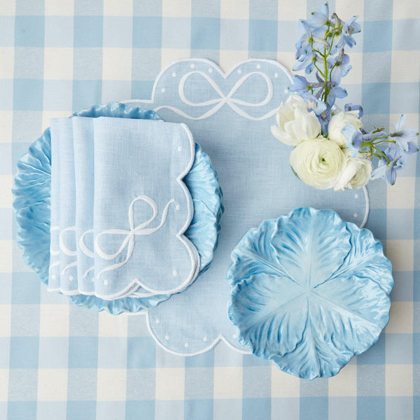 Celeste Blue Bow Napkins (Set of 4)