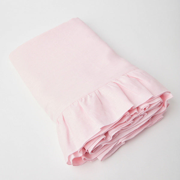 Powder Pink Ruffle Linen Tablecloth