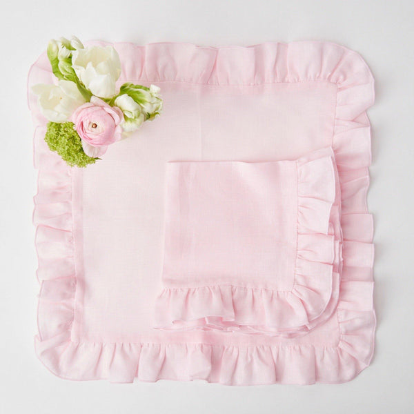 Powder Pink Ruffle Linen Napkins (Set of 4)