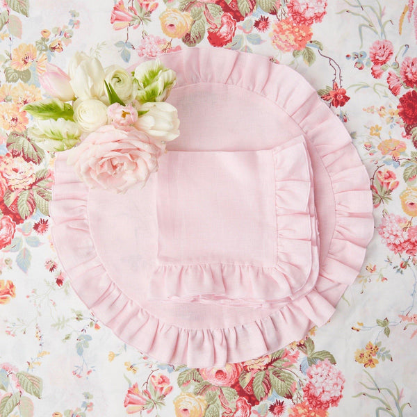 Powder Pink Ruffle Linen Placemats (Set of 4)