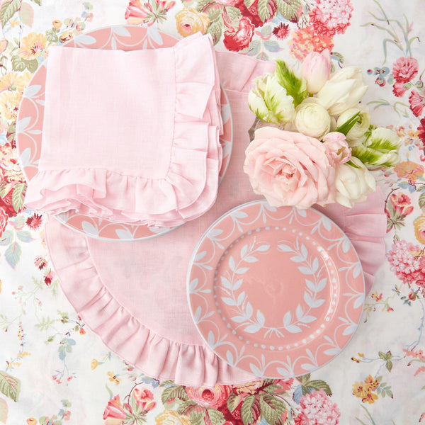 Powder Pink Ruffle Linen Placemats & Napkins (Set of 4)